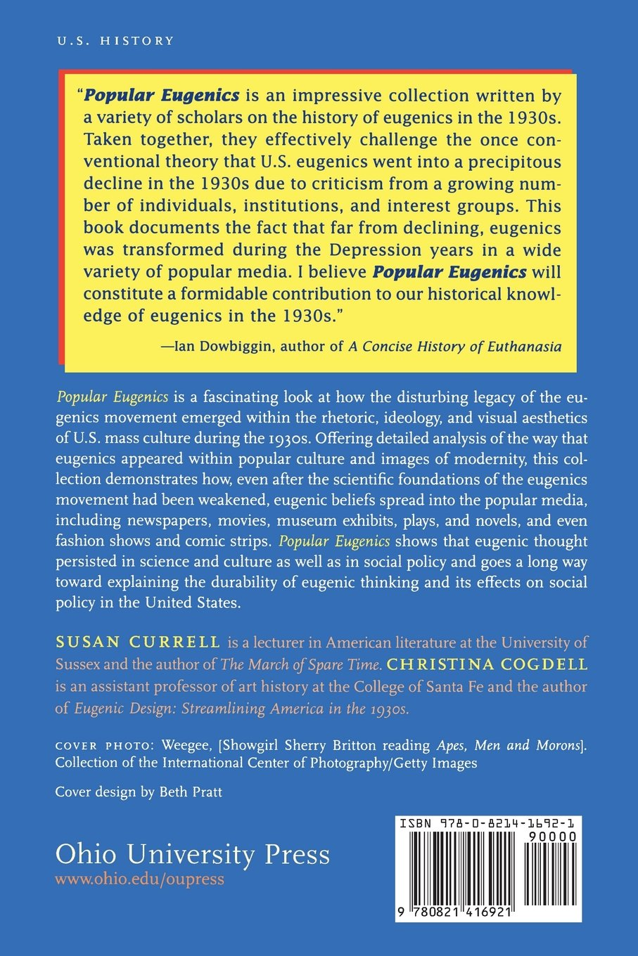 Popular Eugenics: National Efficiency and American Mass Culture in the 1930s: Susan Currell, Christina Cogdell: 9780821416921: Amazon.com: Books