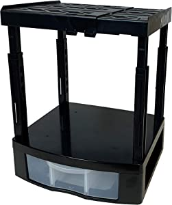 Tools for School Locker Drawer and Height Adjustable Shelf. Includes 2 Removable Drawer Dividers. Heavy Duty. Fits 12 Inch Wide Locker (Black, Single Drawer)