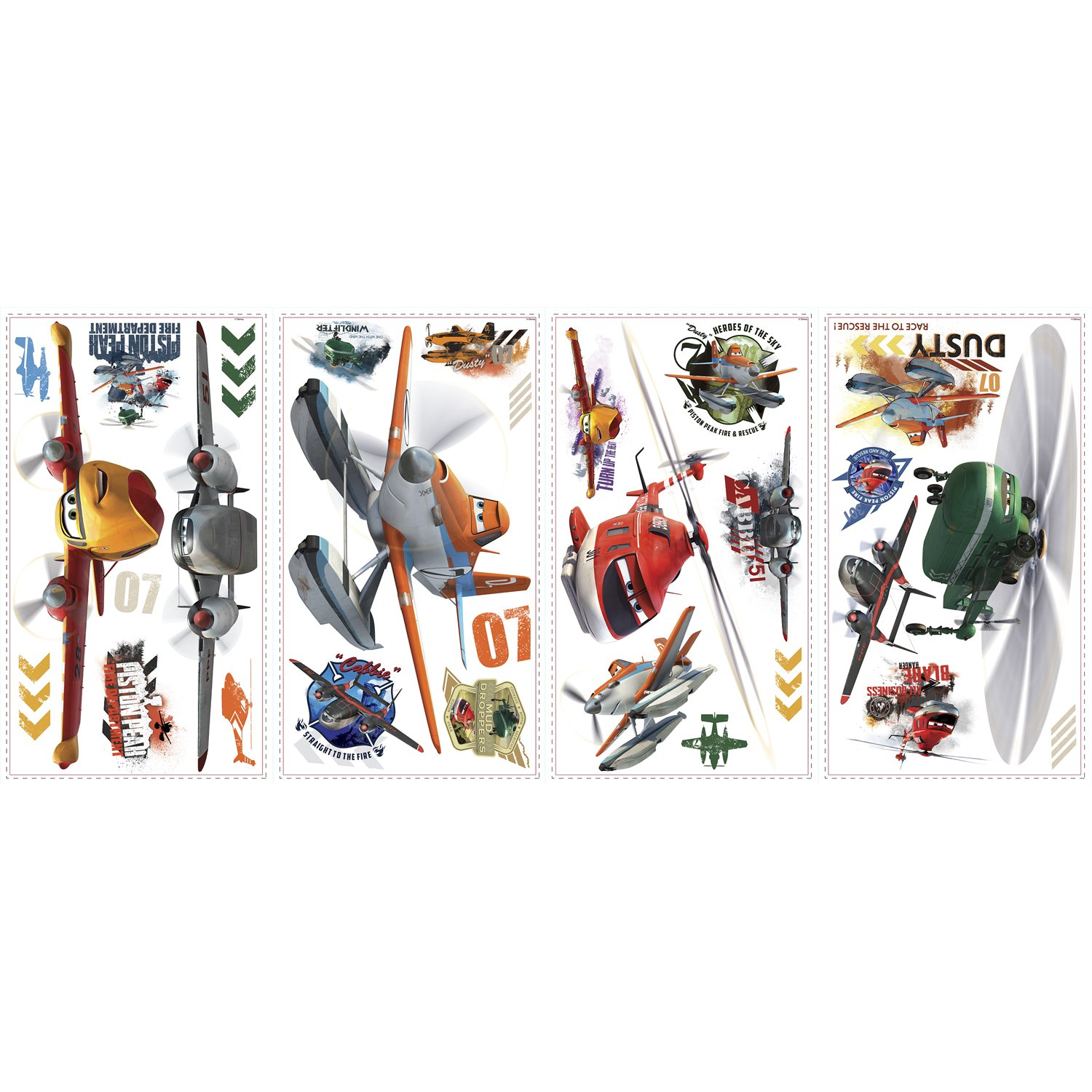 RoomMates Planes Fire /& Rescue Peel /& Stick Wall Decals