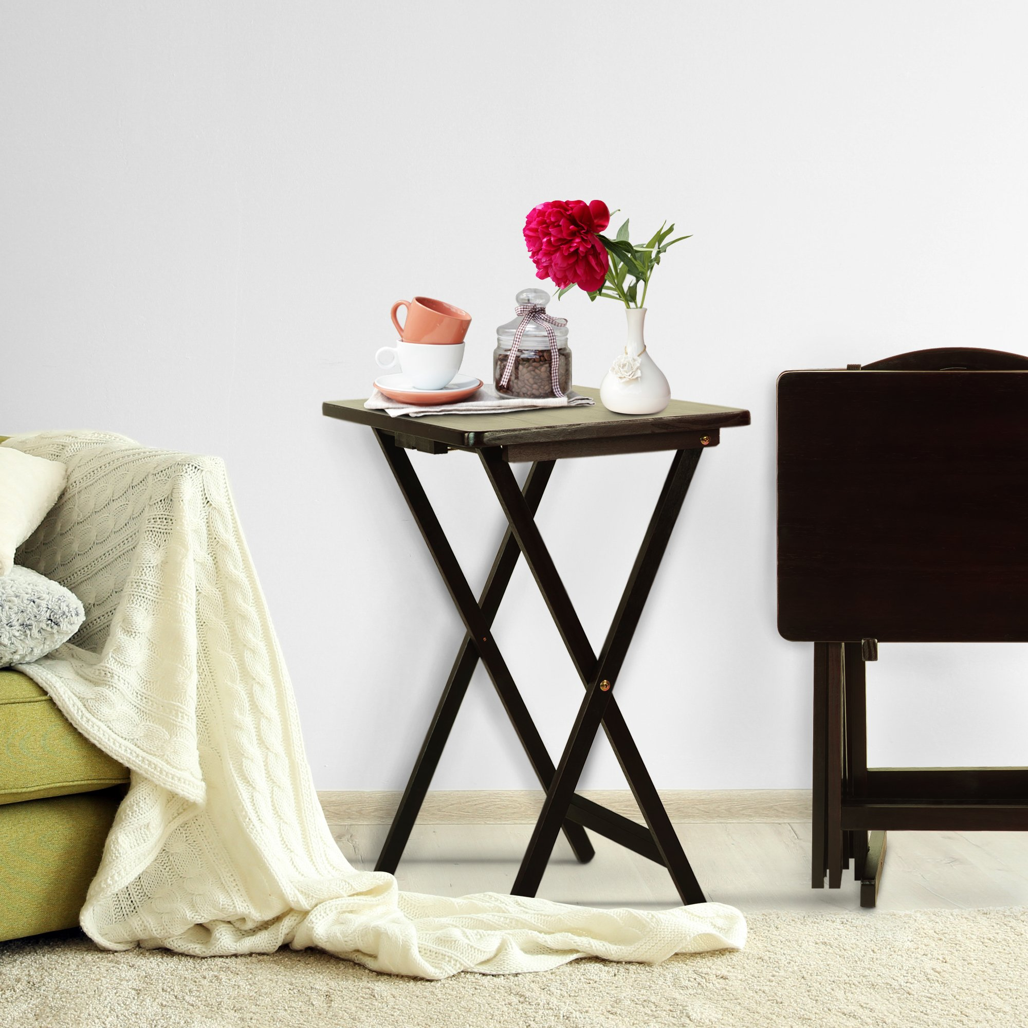 Casual Home 660-44 5-piece Tray Table Set-Espresso by Casual Home (Image #5)