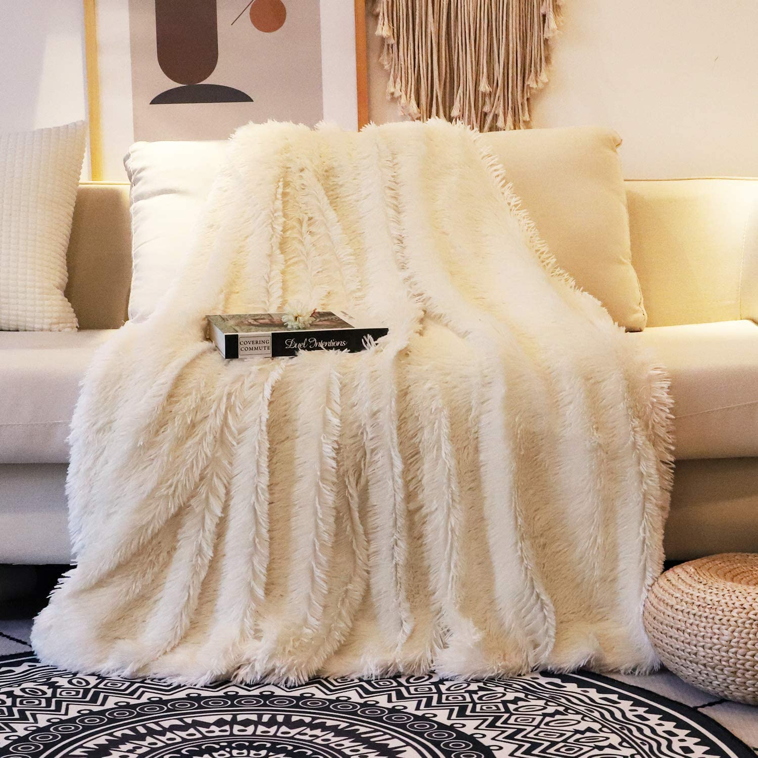"Decorative Extra Soft Faux Fur Blanket Queen Size 78"" x 90"",Solid Reversible Fuzzy Lightweight Long Hair Shaggy Blanket,Fluffy Cozy Plush Fleece Comfy Microfiber Blanket for Couch Sofa Bed,Cream White"
