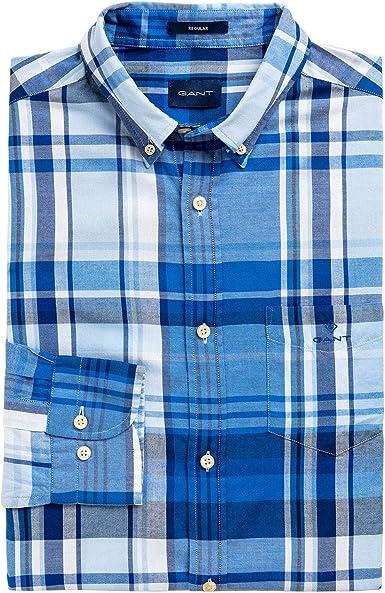 GANT D1. Camisa de manga corta Oxford Madras Windblown Azul ...