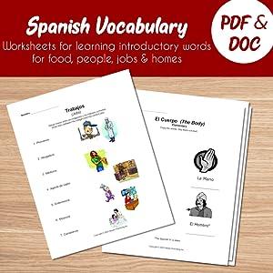 Spanish Vocabulary Worksheets