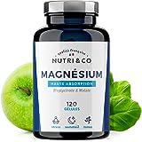 Magnesium Végétal plus Vit B6 B5 B8 | Malate et Bisglycinate de Magnésium | 120 Gélules de 506mg 100% Bio-disponibles et Non Laxatives | Fabriqué en France par Nutri&Co