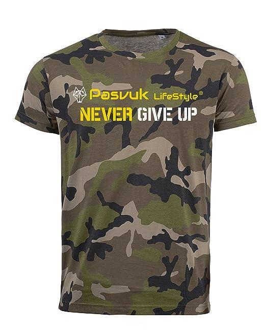 PasvukLifestyle Camiseta Hombre Manga Corta Algodón TINTAS ECOLÓGICAS – H CAMUFLADA (S)