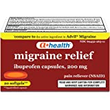 A+ Health Ibuprofen Migraine 200 Mg Softgels, Pain Reliever (NSAID), Made in USA, 20 Count