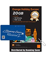Orange Holiday Europe Prepaid SIM Card COMBO DEAL Official Authorized 20GB Internet Data in 4G/LTE (Data tethering Allowed) + 120min international Calls + 1000 Texts from Europe to Any Country Worldwide + 1 Sim Card Holder + 1 Pin