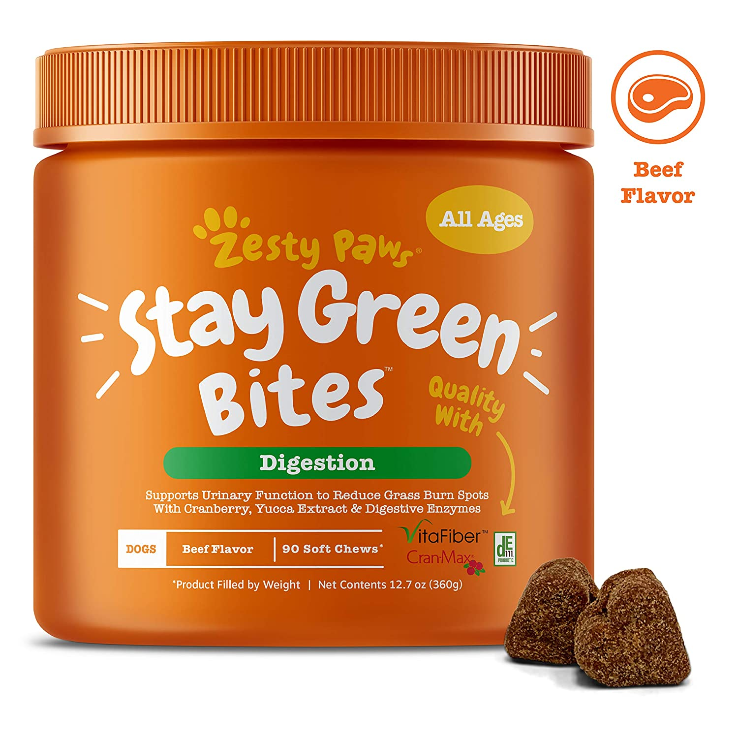 Zesty Paws Stay Green Bites for Dogs - Grass Burn Soft Chews for Lawn Spots from Dog Urine - Cran-Max Cranberry for UT & Bladder - Apple Cider Vinegar, Digestive 90ct