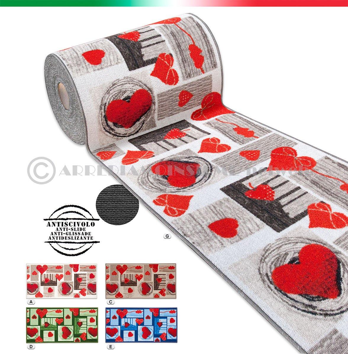 ARREDIAMOINSIEME-nelweb Tappeto cucina cuori TESSITURA PIATTA retro antiscivolo moderno multiuso corridoio bagno camera mod.FAKIRO14 50x40 BEIGE (A) EMMEVI