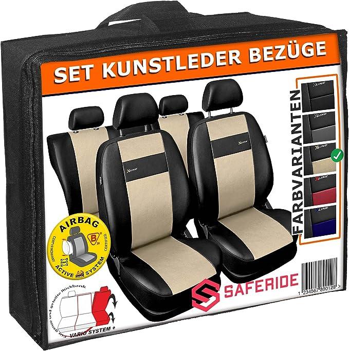 3er Set Saferide Autositzbez/üge PKW universal 1+1 Autositze vorne und 1 Sitzbank hinten teilbar 2 Rei/ßverschl/üsse f/ür Vordersitze und R/ückbank Auto Sitzbez/üge Polyester Blau mit Airbag