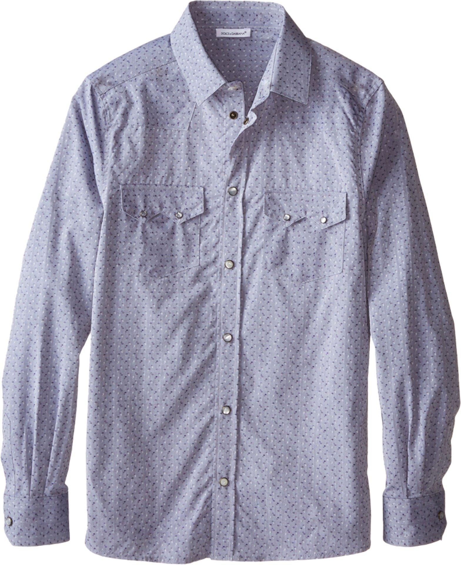 Dolce & Gabbana Kids Boy's Western Shirt (Big Kids) Grey/Jacquard Button-up Shirt by Dolce & Gabbana