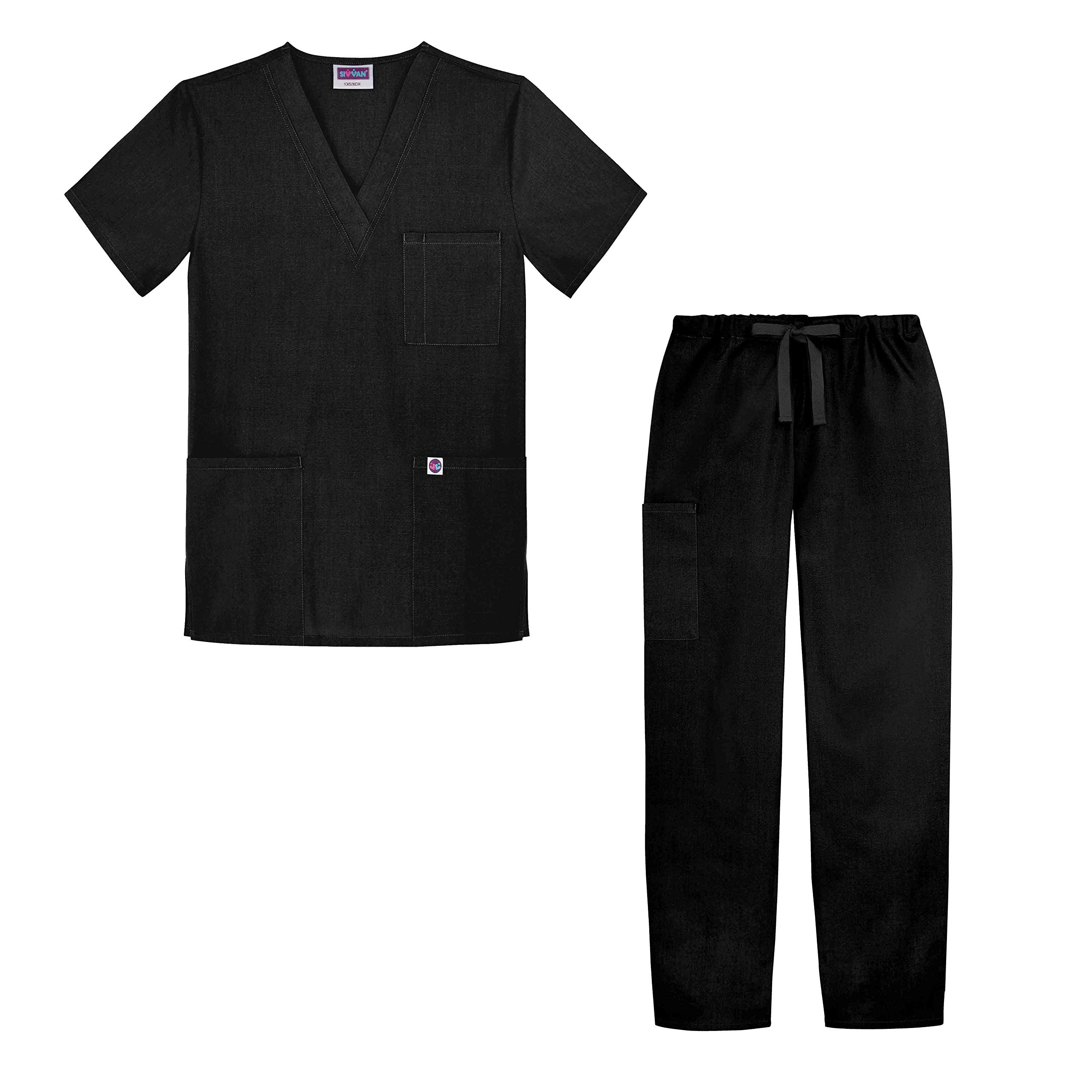 Sivvan Unisex Classic Scrub Set V-Neck Top/Drawstring Pants (Available in 12 Solid Colors) - S8400 - Black - 2X