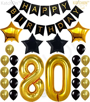80th Birthday Decorations Party Supplies - Large Number 80 | Happy Birthday Banner | Black and Gold Balloons | 80th Birthday Party Decorations Kit | ...