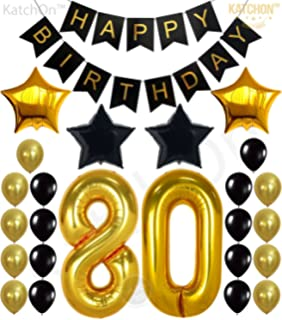 Star KUNGYO Classy 65TH Birthday Party Decorations Kit-Black Happy Brithday Banner,Silver 65 Mylar Foil Balloon Latex Balloon,Hanging Swirls Perfect 65 Years Old Party Supplies