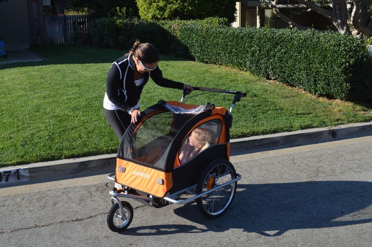Baby Diego Bike Trailer/Jogger, Orange/Black BTO2015