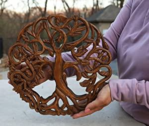 DharmaObjects Handcrafted Wooden Celtic Tree Of Life Wall Decor Hanging Art (Brown)