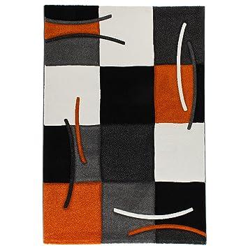 Delunia Designer Teppich Estesia Orange Grau Schwarz Weiss