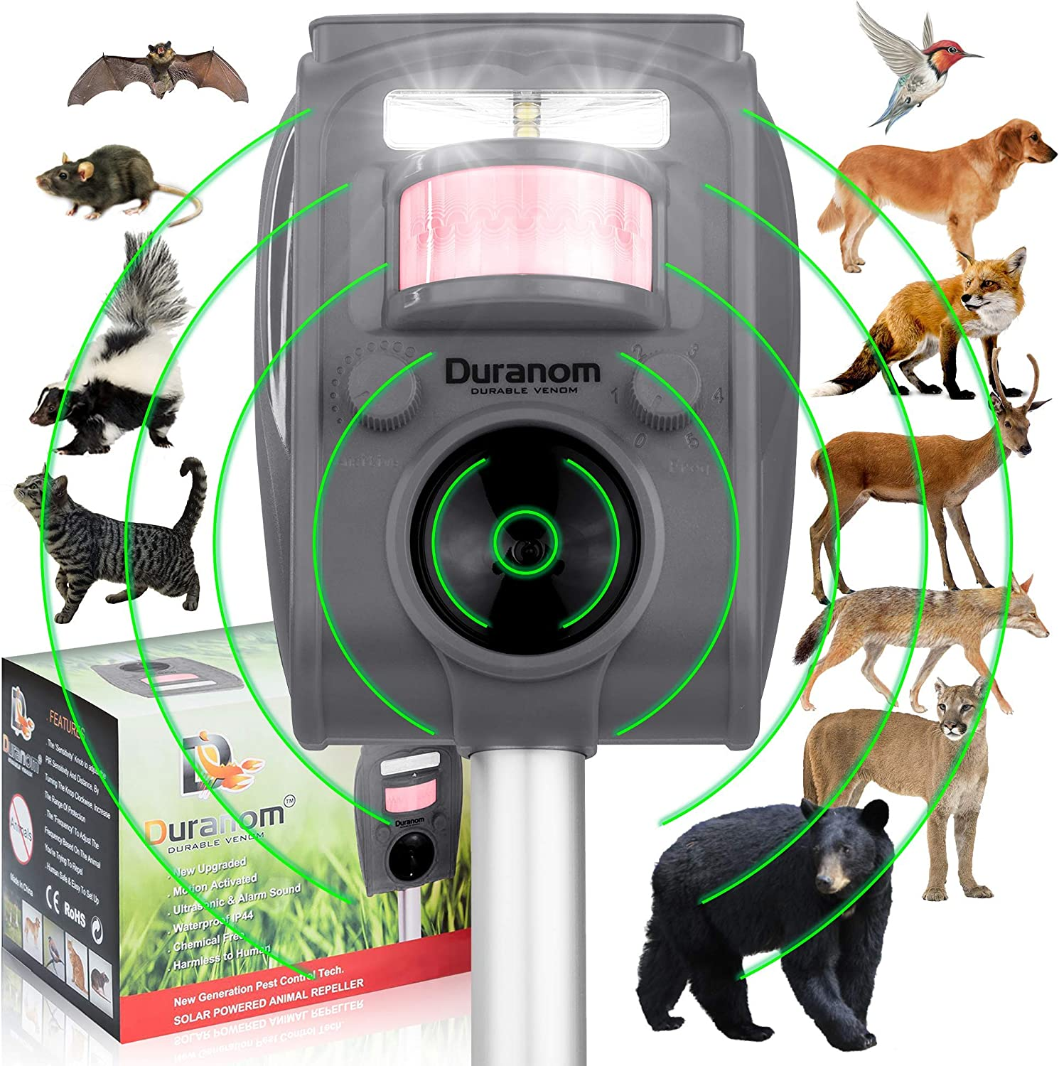 DURANOM Ultrasonic Wild Animal Repeller Outdoor - Cat Deer Repellent Solar Powered - Motion Sensor Activated Flashing Light Deterrent