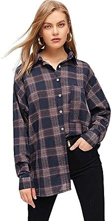 DIDK - Camisa de cuadros para mujer, diseño de cuadros: Amazon.es: Ropa y accesorios