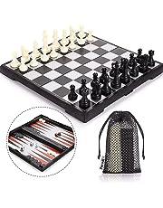 Echecs et Dames et Backgammon 3 en 1 Peradix Échecs de Voyage Magnétique Pliant avec des Chiffres Jeu de Tactique Éducation Conseil pour Enfants ou Adultes(30.5cmX30.5cm)