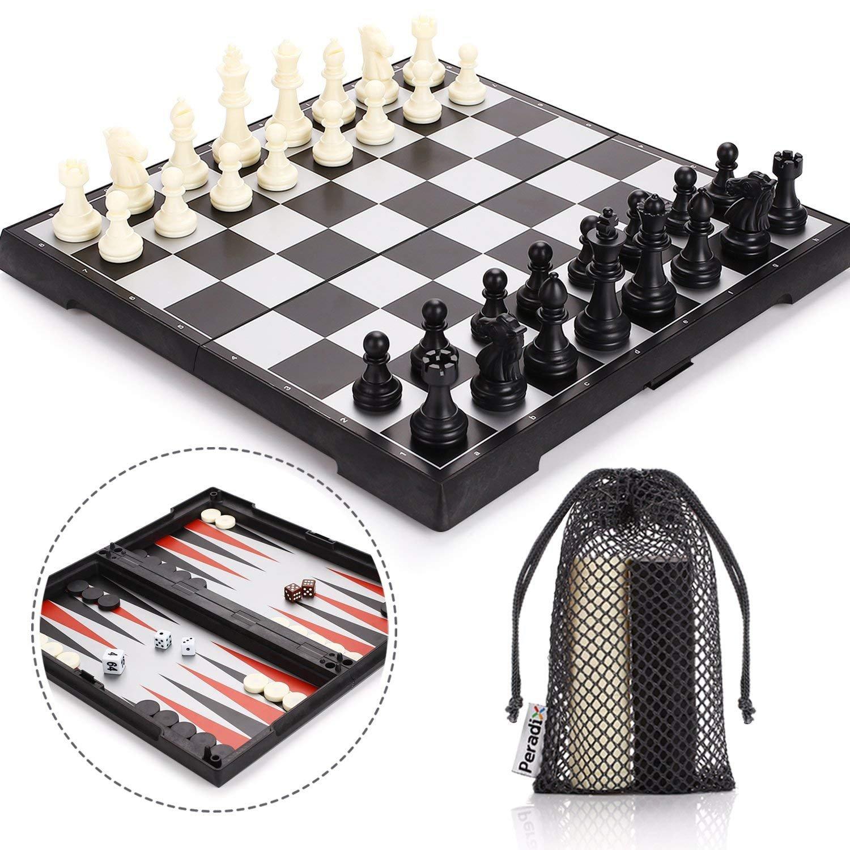 Peradix 3 en 1 Ajedrez Magnetico Plegable Set-Ajedrez Damas Backgammon para niños y Adulto Juego de Ajedrez 30.5*30.5cm: Amazon.es: Juguetes y juegos