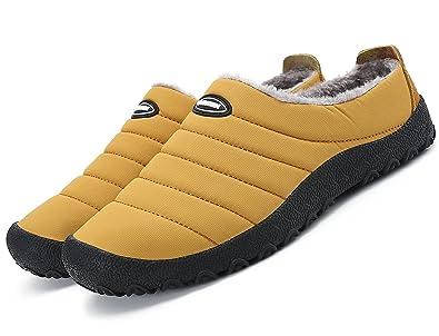 Welltree Women Men Indoor Outdoor Slippers Fur Lined Winter Waterproof Clog House  Shoes Yellow 4 US