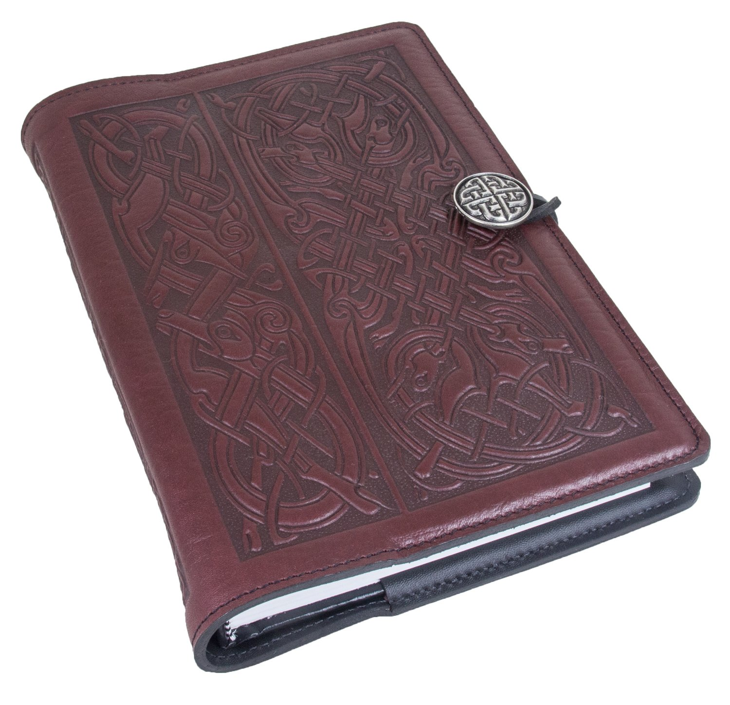 Genuine Leather Refillable Journal Cover + Hardbound Blank Insert - 6x9 Inches - Celtic Hounds, Wine With Pewter Button - Made in the USA by Oberon Design