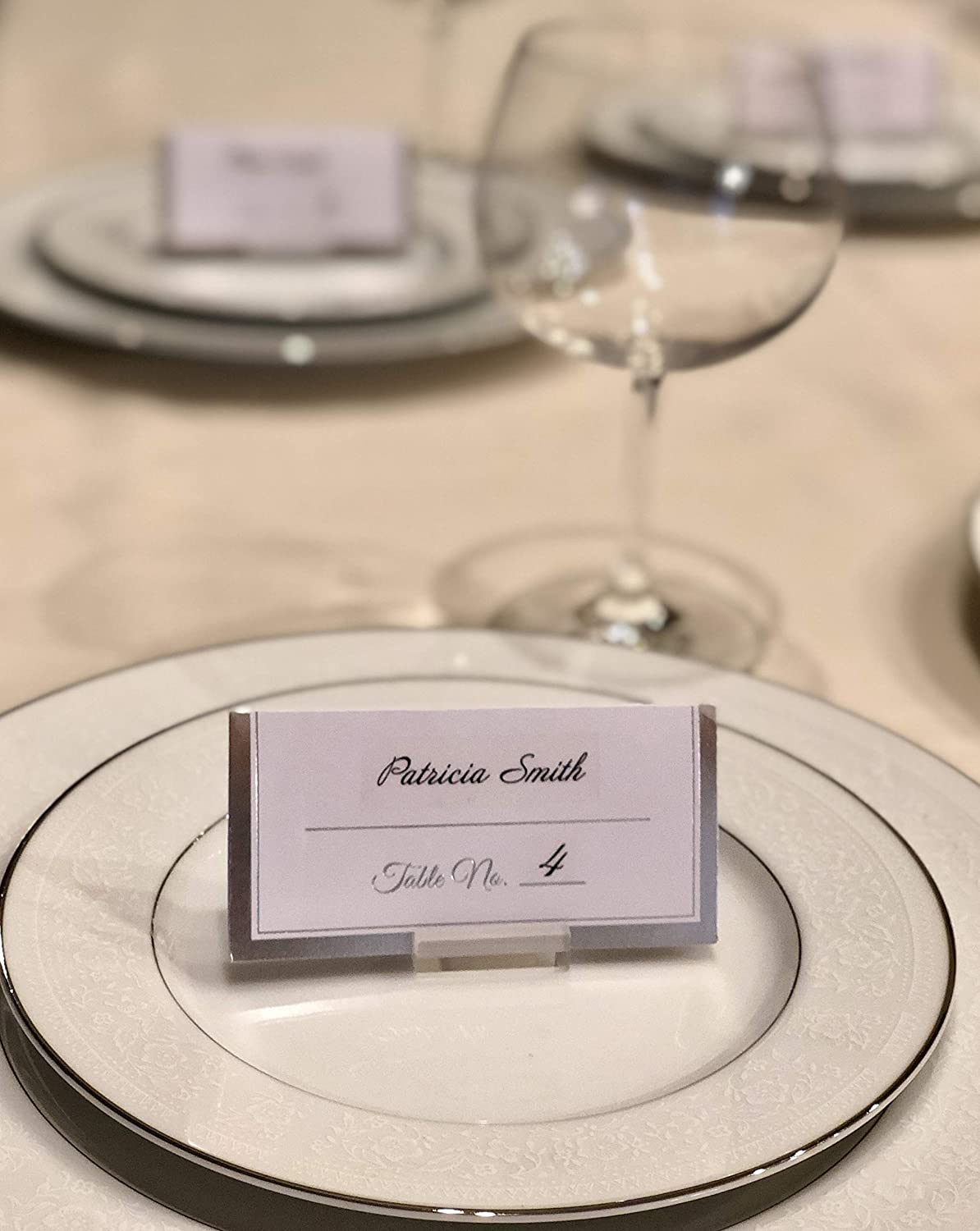 Banquet Tables Buffet Tables Mini Place Card Holder Set Acrylic Table Card Holders for Wedding Receptions 12 Pack//Set Includes Adhesive Dots for Stability and Table Numbers