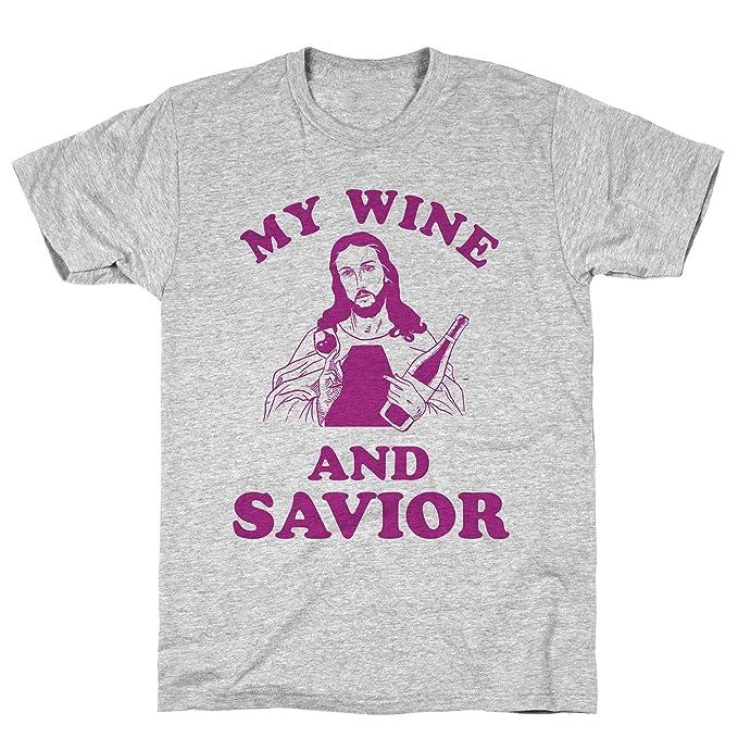 665d1c32 Amazon.com: LookHUMAN My Wine and Savior Athletic Gray Men's Cotton ...