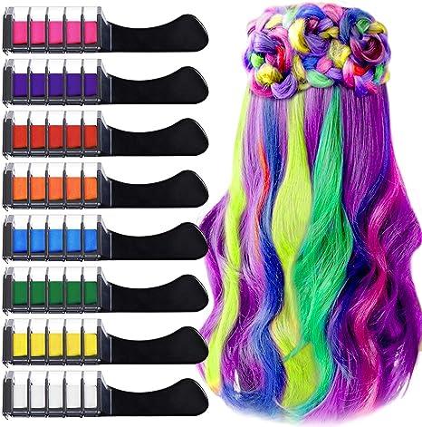Peine de Tiza Para el Pelo con Tapa, EBANKU 8 Colores Lavables Tinte para Cabello, Color de pelo Temporal Hair Chalk Set para Niños Regalos Navidad ...