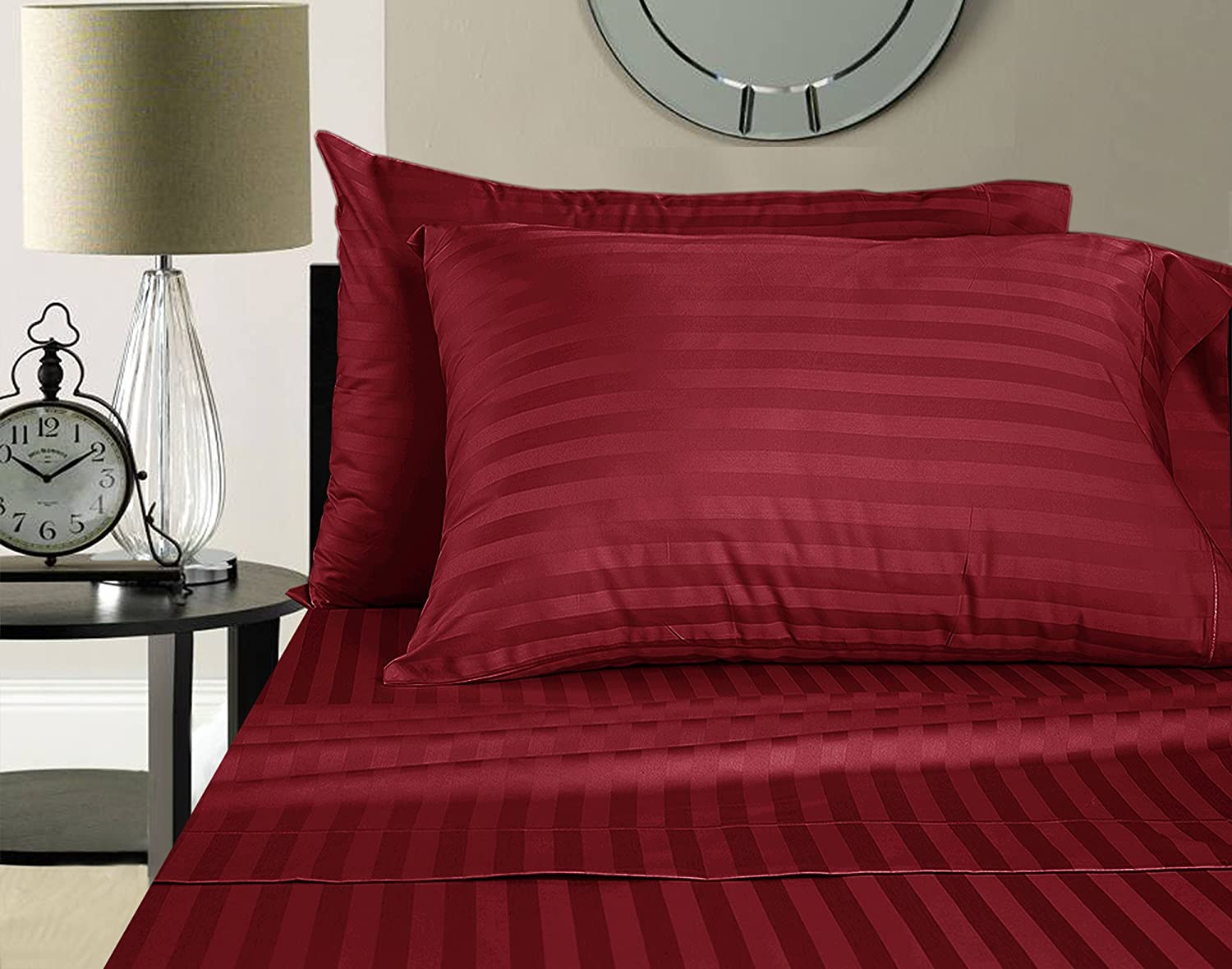 Addy Home Fashions Egyptian Cotton 500 Thread Count Damask Stripe Sheet Set, Queen - Burgundy