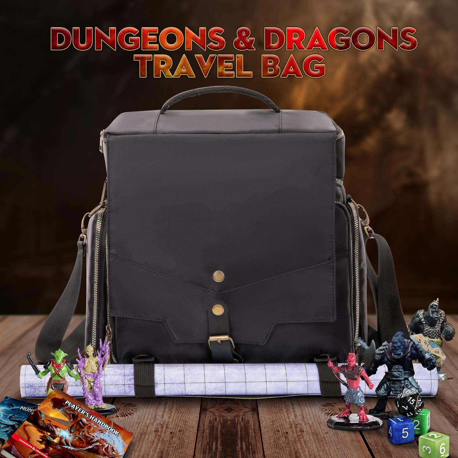 Small DND Bag fits RPG Player Essentials Players Handbook Mini Player Items(Bag Only) Tokens Character Sheets Dice TRAVEASE Travel Bag Compatible with Dungeons and Dragons Accessories