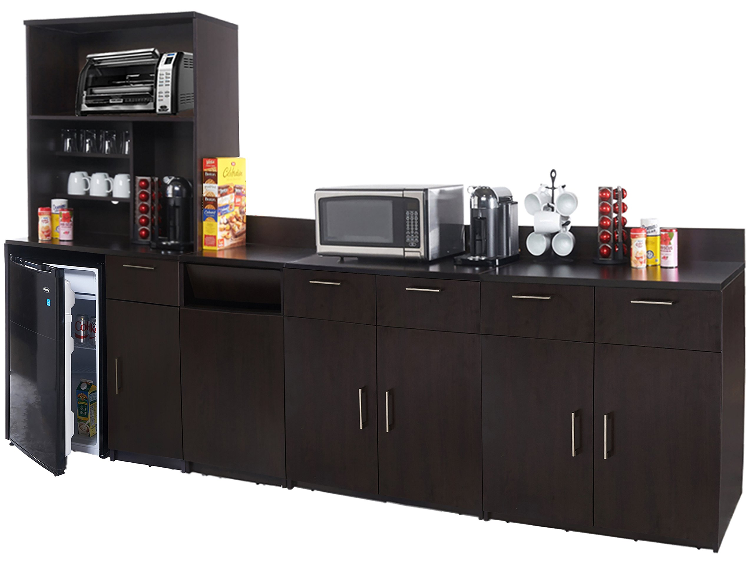 Coffee Kitchen Lunch Break Room Cabinets Model 4444 BREAKTIME 5 Piece Group Color Espresso - Factory Assembled (NOT RTA) Furniture Items ONLY. by Breaktime