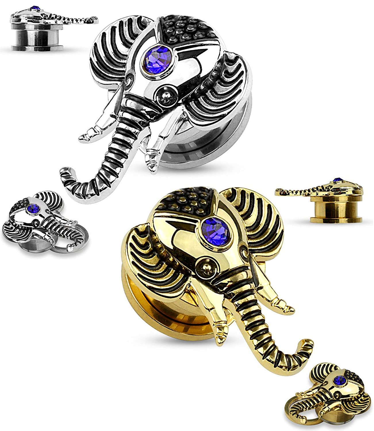 Lobal Domination Pair of Elephant w//Sapphire Blue Gem Top Steel Screw Fit Tunnel Plugs Steel or Gold