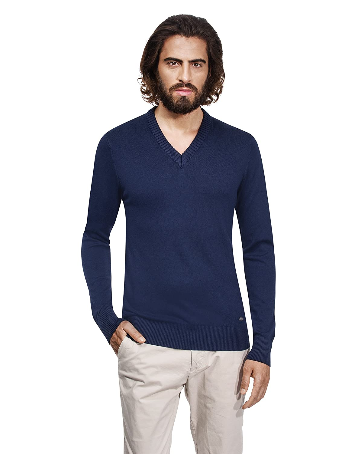 Vincenzo Boretti Mens Pull-Over Knitted Long-Sleeve Jumper Slim-fit Mock-Turtleneck Warm Lightweight Soft Cotton-Blend Plain Colour Elegant for Business Work and Everyday Casual