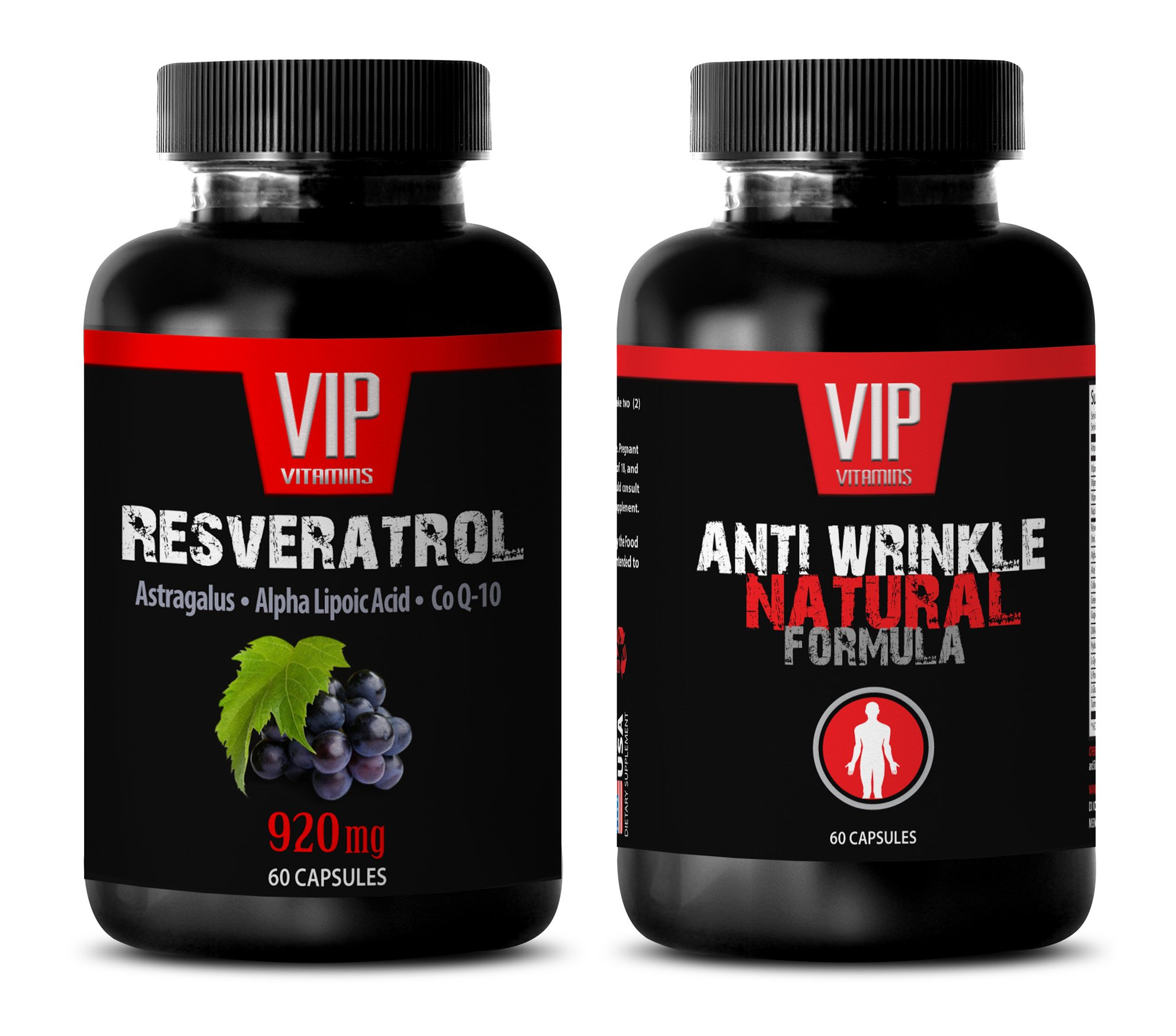 energy vitamin supplement - RESVERATROL – ANTI WRINKLE - COMBO - grape seed oil extract - 2 Bottles - (60+60 Capsules)