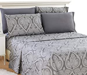 Lux Decor Collection Bed Sheet Set - Brushed Microfiber 1800 Thread Count Bedding - Wrinkle, Stain & Fade Resistant - Deep Pocket King Size Sheets Set - 6 PC (King, Paisley Grey)