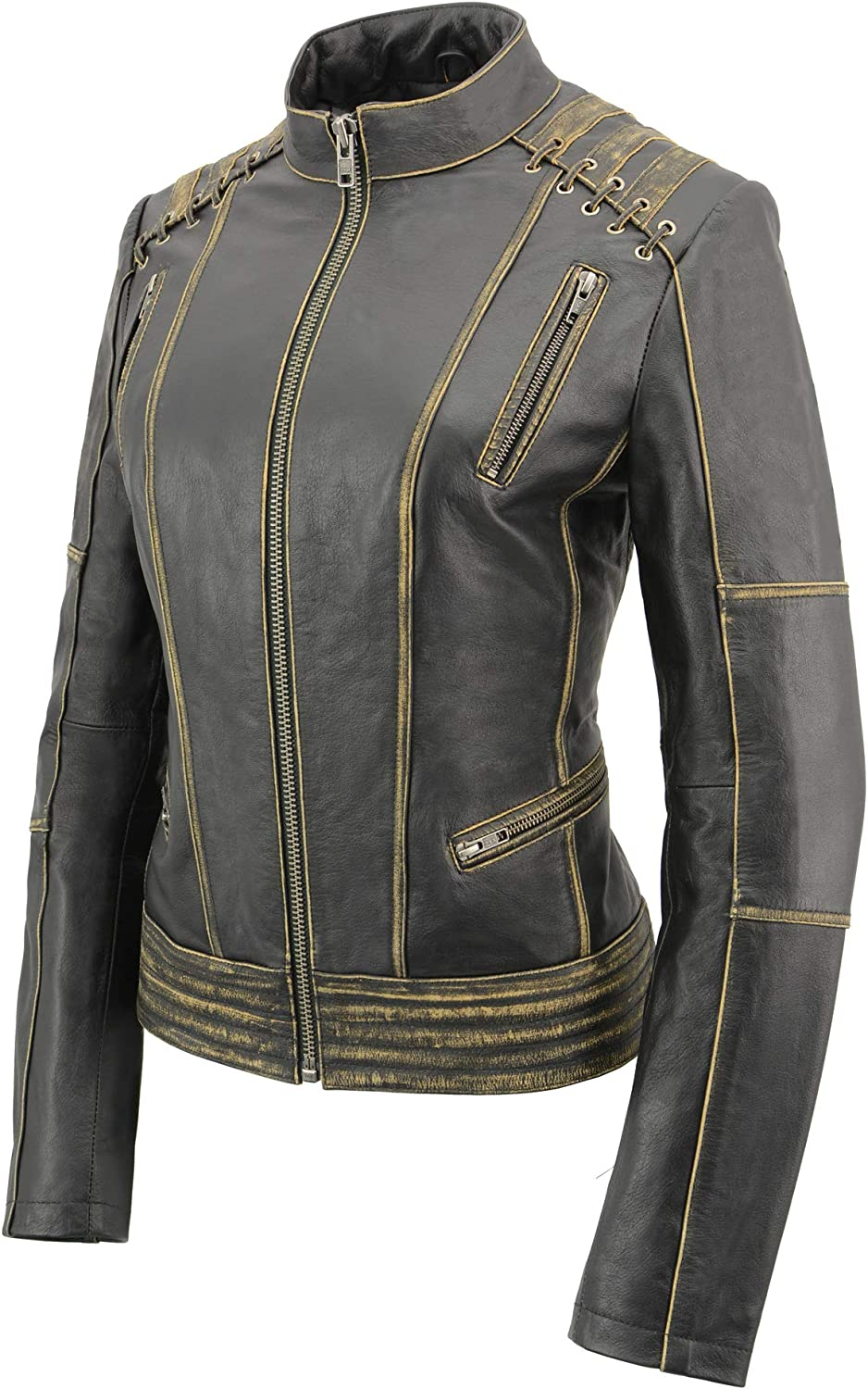 5X-Large Milwaukee Leather MLL2527 Women Distressed Brown Leather Jacket With Lace Distress Brown