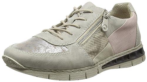 M2840, Zapatillas Mujer, Gris (grey/silber/hay/crema/rose/40), 38 EU Rieker