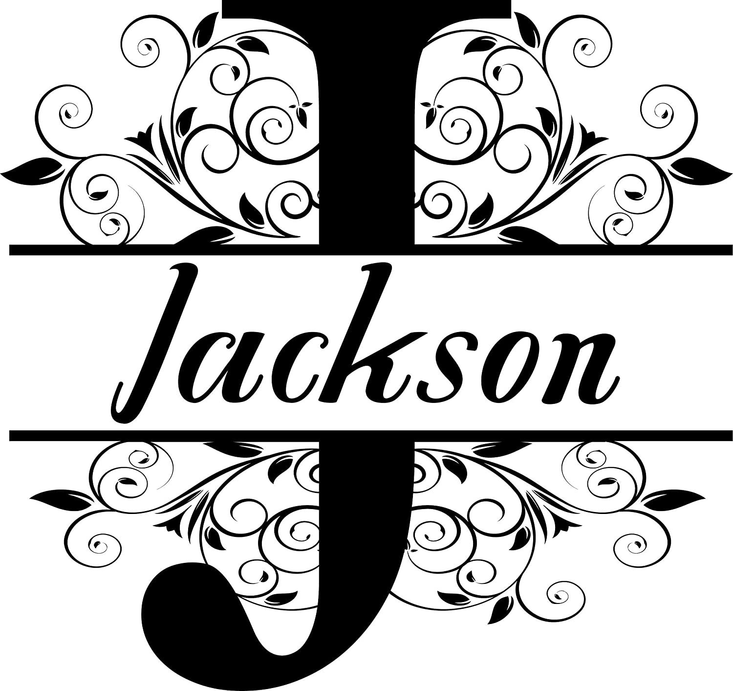 Amazon com custom personalized vinyl name split monogram decal only