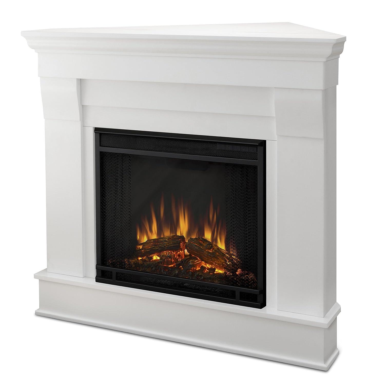 Amazon com real flame 5950e chateau corner electric fireplace small dark walnut home kitchen