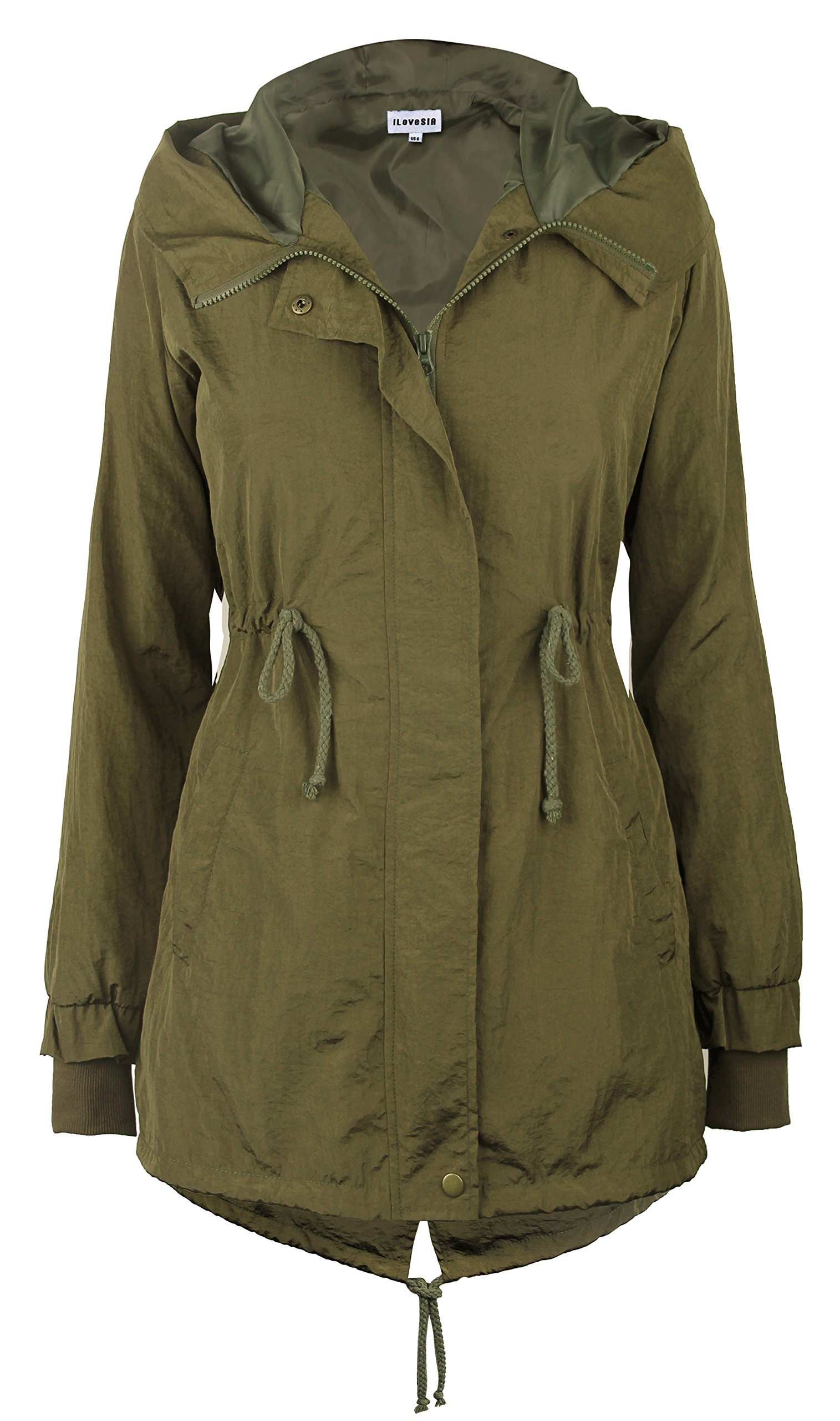iLoveSIA Women's Military Trench rain Jacket with Hood Jacket Arm Green US 12