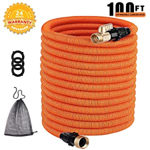 TACKLIFE 100ft Expandable Garden Hose, Flex Hose with Double Latex Core, 3/4' Brass Connectors, No-Kink Flexible and No-Leak Water Hose - GGH2A