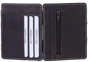 TUSC Leo Cartera marrón vintage para hombre con protección RFID con bolsillo de monedas cartera fina