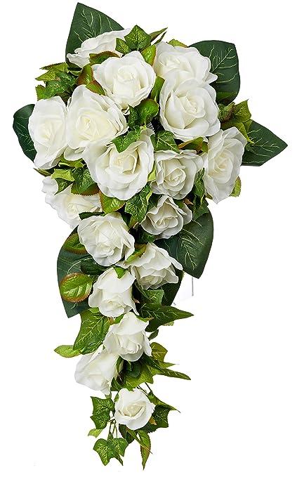 Amazon Com Ivory Silk Rose Cascade Silk Bridal Wedding Bouquet