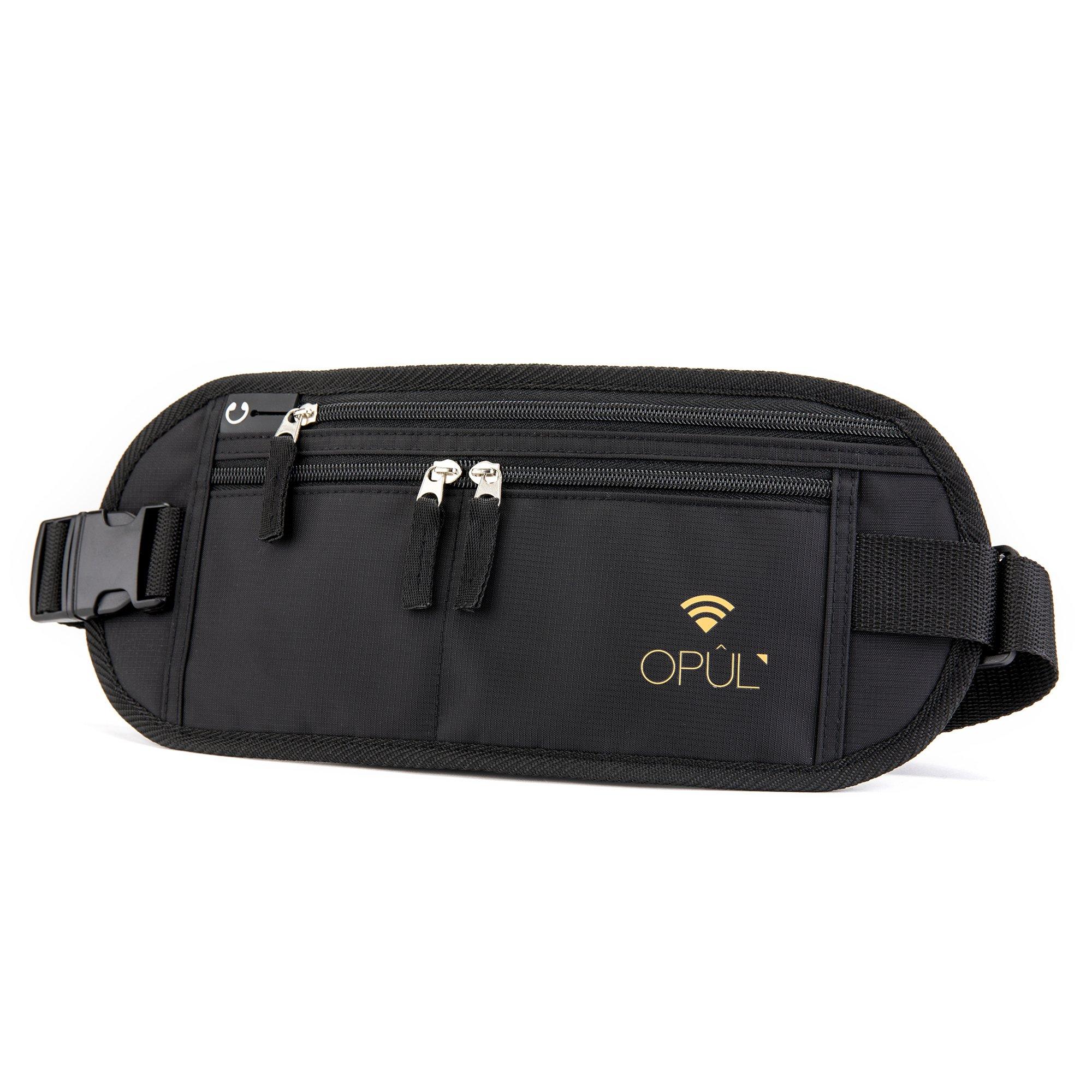 Opul Riñonera Antirrobo para el Dinero y Pasaporte - Cinturon Monedero de Viaje - Fácil de Esconder Cintura Bolso para Viajar, Correr y Senderismo - Riñonera Deportiva para Hombre y Mujer