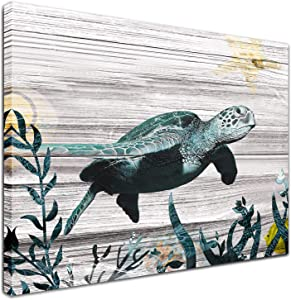 "Canvas Turtle Wall Art - Bathroom Pictures Wall Decor Ocean Beach Nautical Theme Artwork Canvas Print for Bedroom Living Room Vintage Paintings Coastal Decor Framed Artwork One Panel 16""x12"""