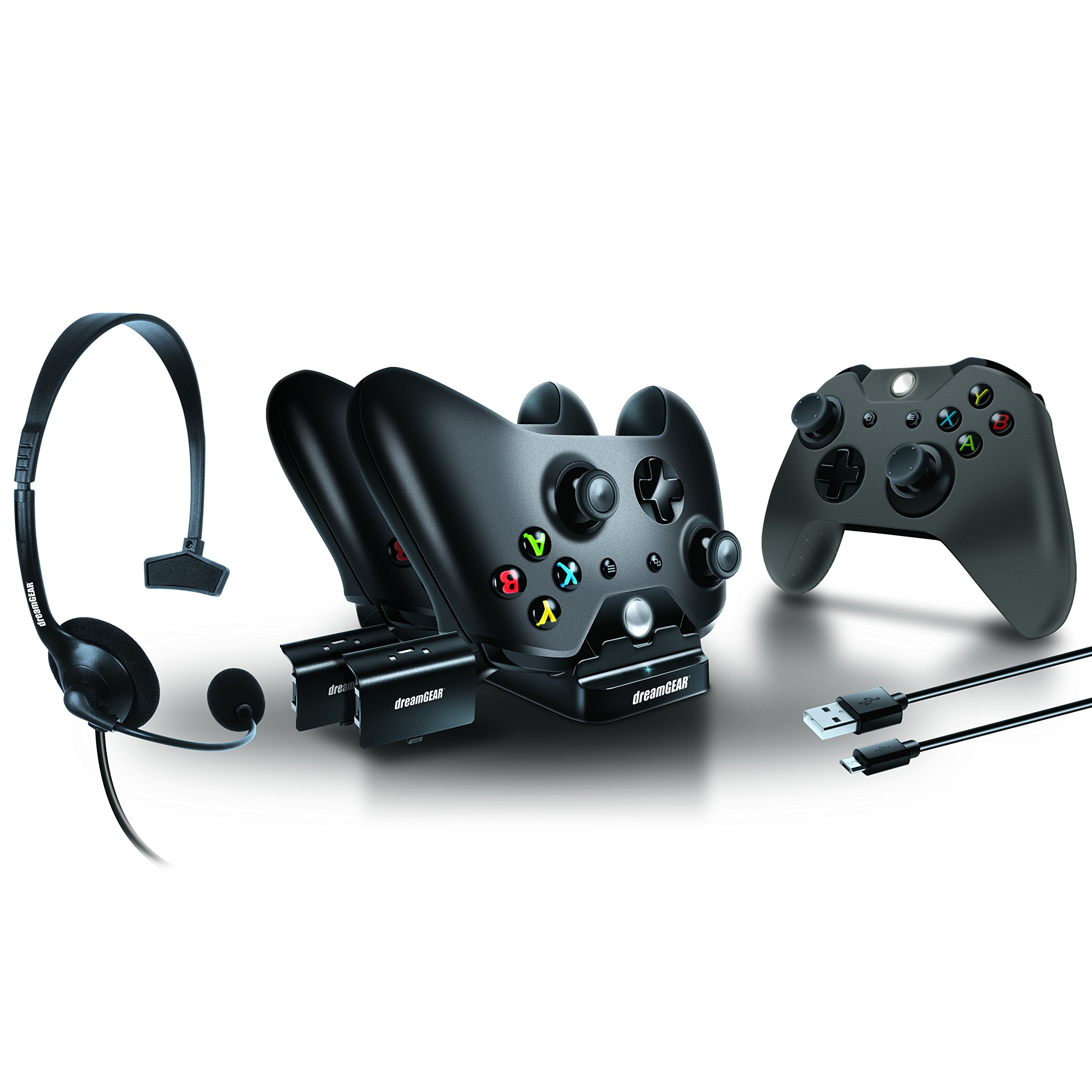 dreamGEAR – Player's Kit– includes charge dock/sync cable/headset/silicone controller cover – for Xbox One