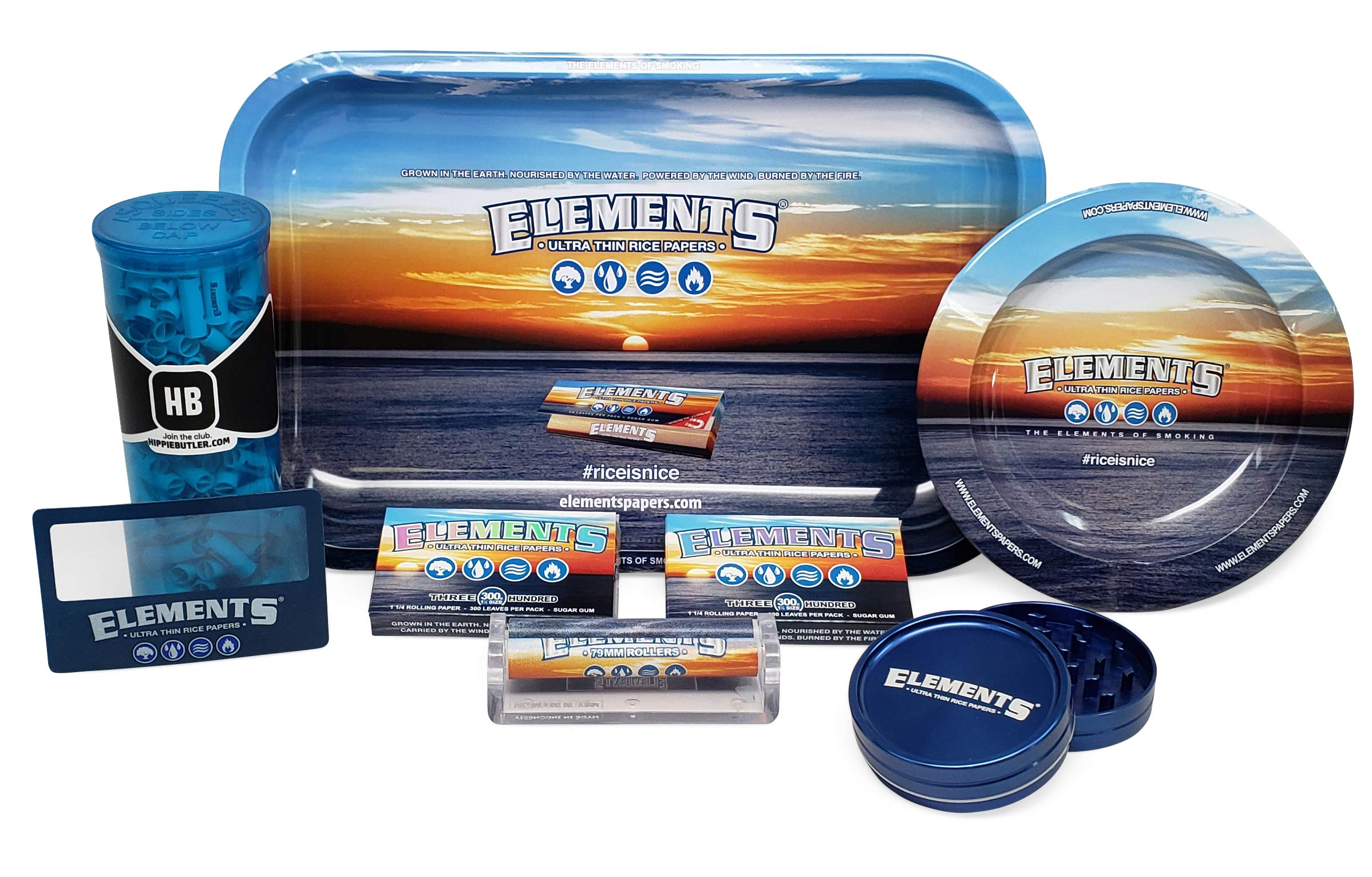 Elements Rolling Papers 300 with Elements Rolling Tray, Ashtray, 79mm Roller, 62mm Grinder, Magnifying Scoop Card, 189 Pre Rolled Tips and Hippie Butler Pop Top Storage Container