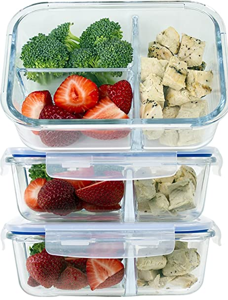 Glass Meal Prep Food Storage Containers Set u2013 3 Compartment Dishes with Extra High Divider -  sc 1 st  Amazon.com & Amazon.com: Glass Meal Prep Food Storage Containers Set - 3 ...